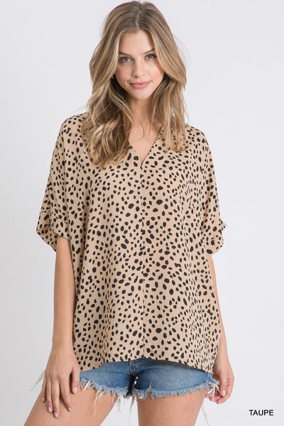 Seeing Spots Top in Taupe