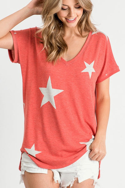 Easy-Going Star Top in Vintage Red