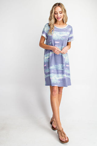 Comfy Chic T-Shirt Dress in Blue