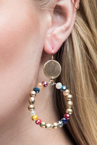 Double Circle Drop Earrings in Multi