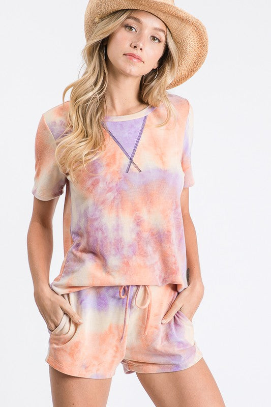 Tie Dye Dreams Lounge Set in Orange/Lavender