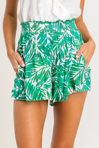 Green Leaf High Waist Shorts