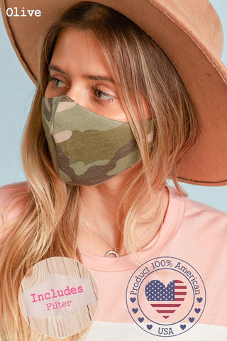 Face Mask in Olive Camo