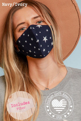 Face Mask in Navy/Ivory Stars