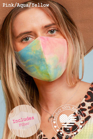 Face Mask in Pink/Aqua/Yellow