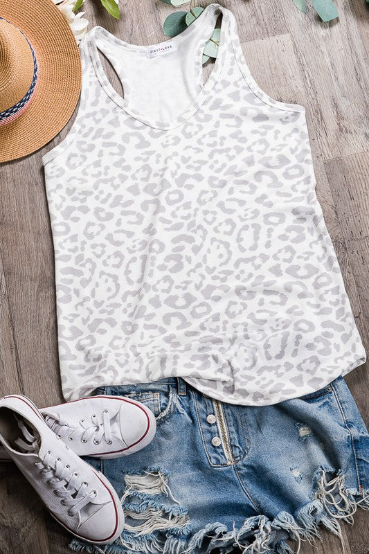 Ready To Go Leopard Top in Grey