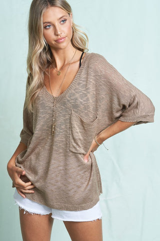Getaway Knit Top in Mocha