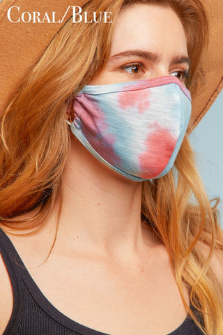 Face Mask in Coral/Blue