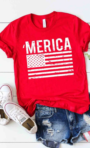 'MERICA Flag Graphic Tee in Red