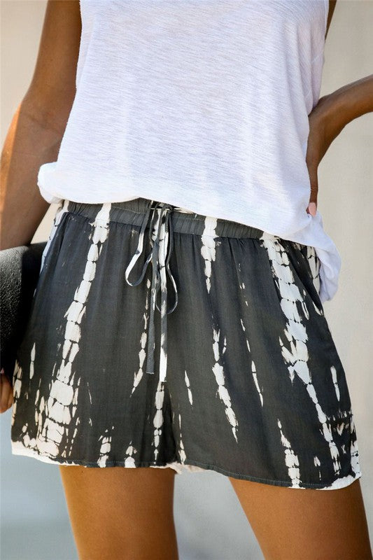 Wild Side Tie Dye Shorts in Grey