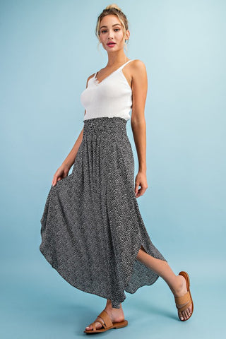 Polka-Dot Smocked Maxi Skirt