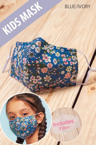 Kids Face Mask in Blue Floral