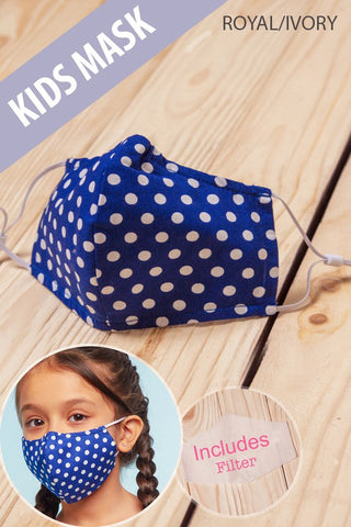 Kids Face Mask in Royal/Ivory