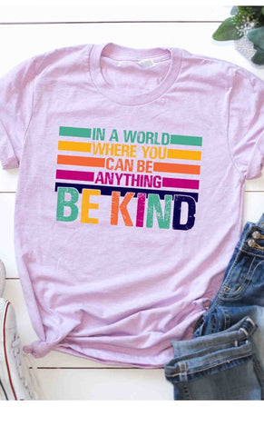 BE KIND Graphic Tee in Lilac