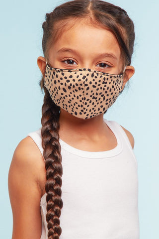 Kids Face Mask in Taupe/Black Cheetah