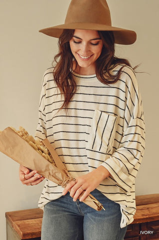 By Your Side Striped Top in Ivory