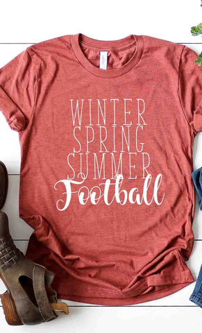 Winter Spring Summer Football Tee in Heather Clay