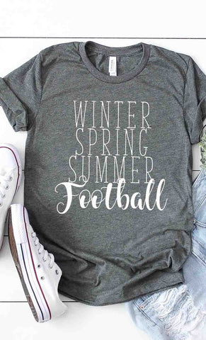 Winter Spring Summer Football Tee in Deep Grey