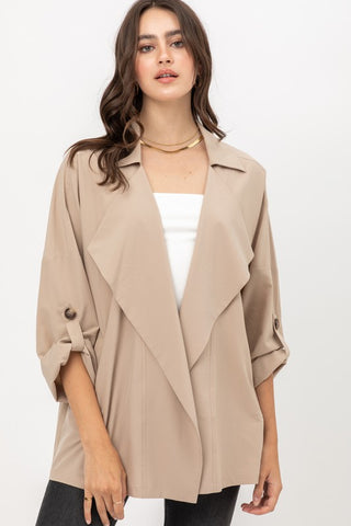 Instantly Chic Lapel Jacket in Khaki