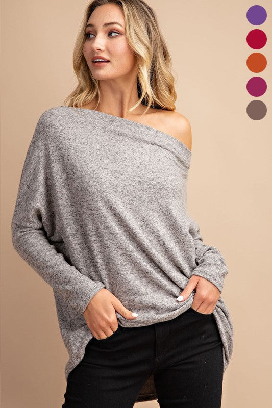 Simply Perfection Off the Shoulder Top in Oatmeal