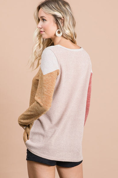 Bella Color Block Sweater in Rust/Mustard