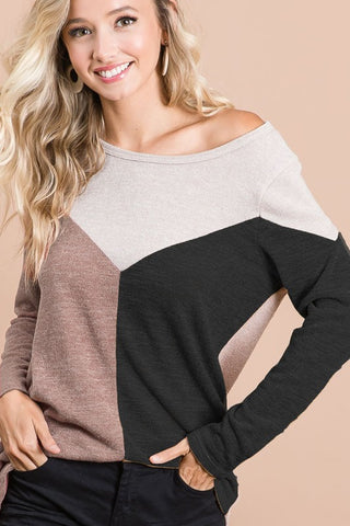 Bella Color Block Sweater in Mocha/Black