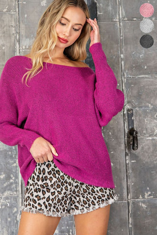 Dreamy Off the Shoulder Sweater in Magenta