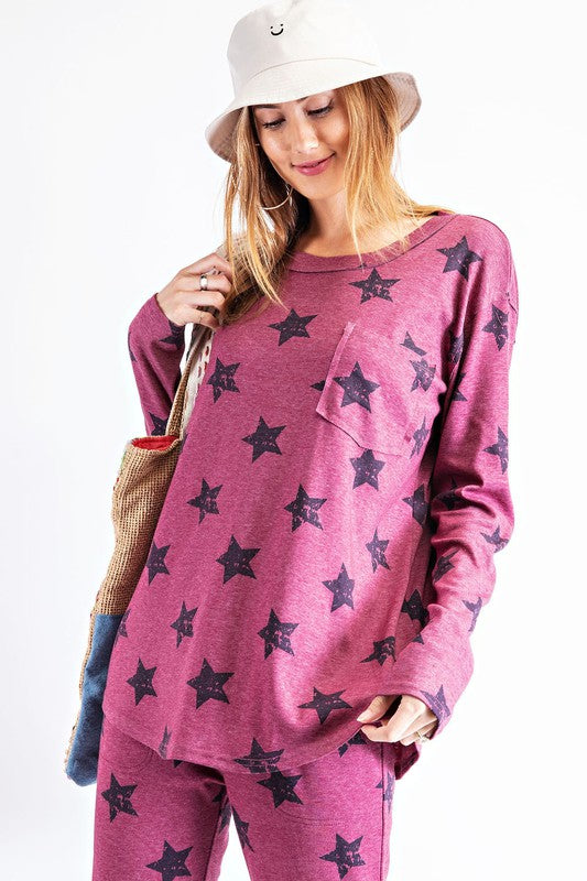 Oh My Stars Top in Plum