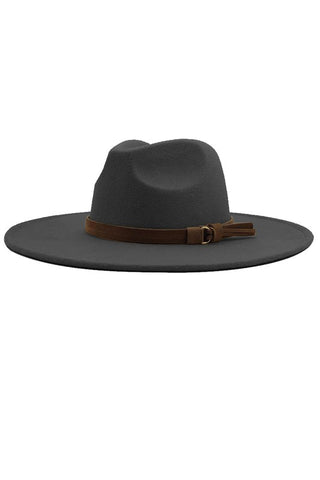 One Love Wide Brim Hat in Dark Grey