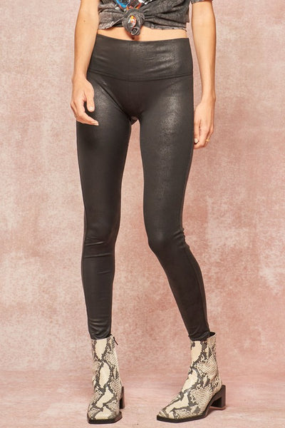 Faux Leather Textured Leggings