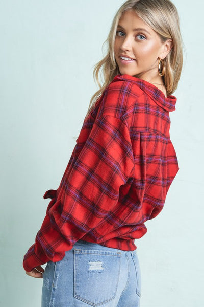 Perfect Plaid Top in Red