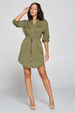Classic Chick Tencel Dress in Olive