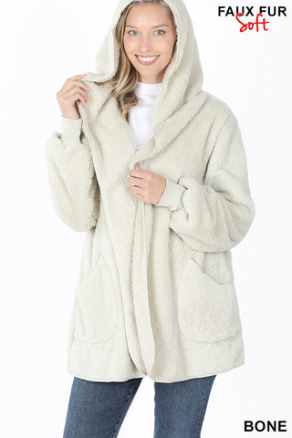 Coziest Sherpa Cardigan in Bone