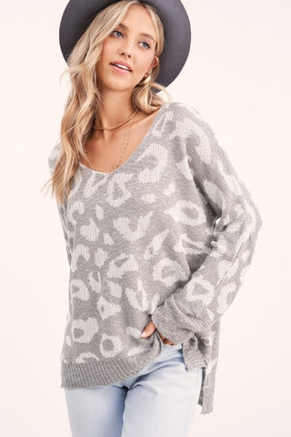 Cozy Up Leopard Sweater in Grey