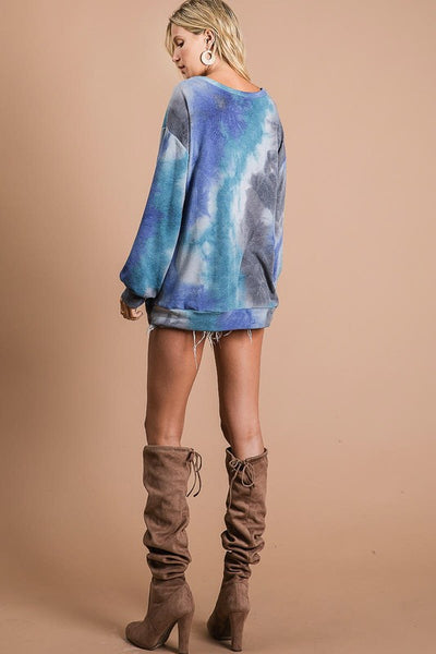 What Dreams Are Made Of Tie Dye Top in Teal Blue Combo