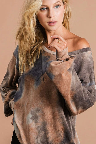 What Dreams Are Made Of Tie Dye Top in Mocha Combo
