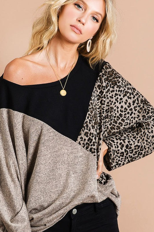 You're Gorgeous Leopard Block Top in Taupe