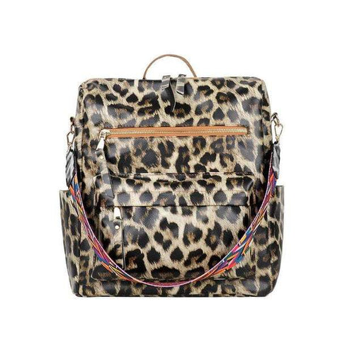 The Kennedy Backpack Purse in Leopard
