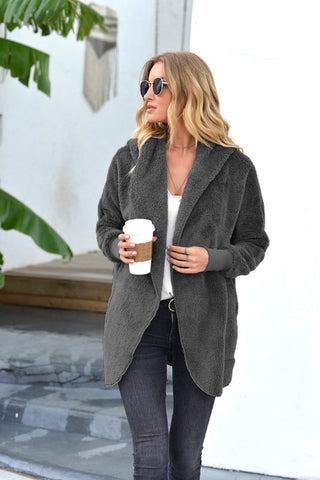 Coziest Sherpa Cardigan in Ash Grey