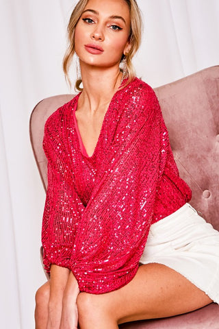 Shine and Sparkle Sequin Top in Hot Pink