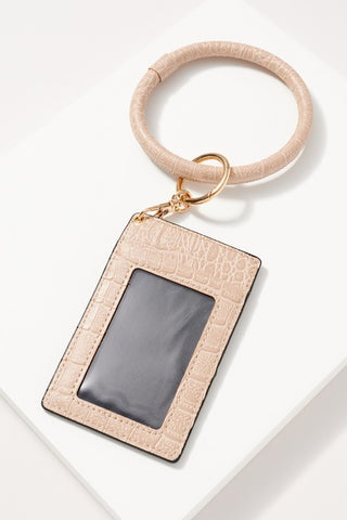 Croc Leather Key Ring in Beige