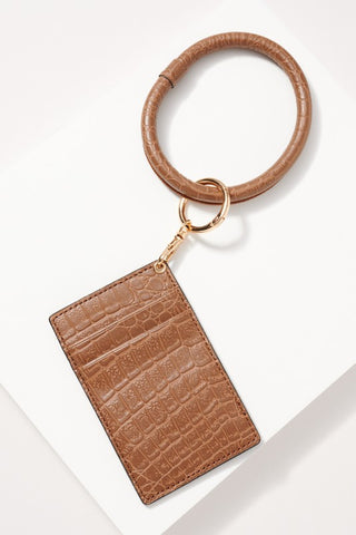 Croc Leather Key Ring in Brown
