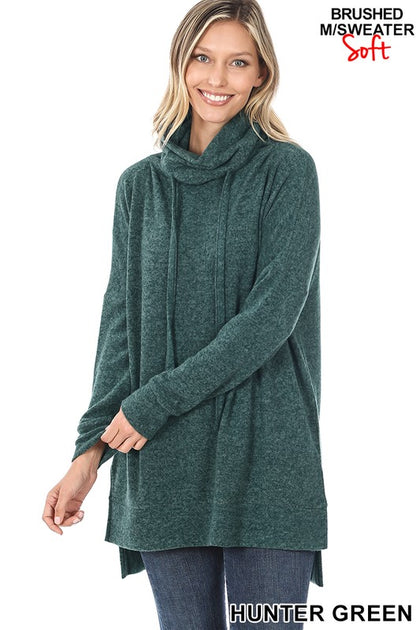 Coziest Cowl Neck Sweater in Hunter Green