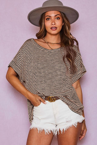 Kick Back Striped Top in Mocha/Black