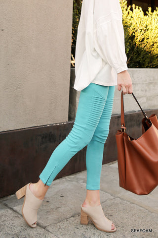 Moto Jeggings in Seafoam