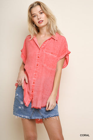 Button It Up in Coral
