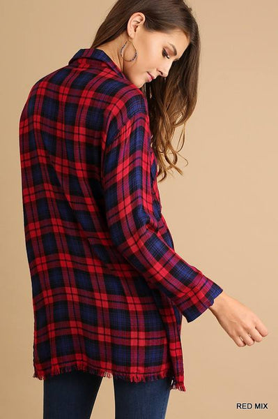 Drawstring Plaid Tunic in Red