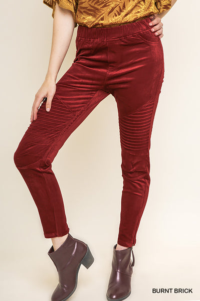 Velvet Motto Jeggings in Brick