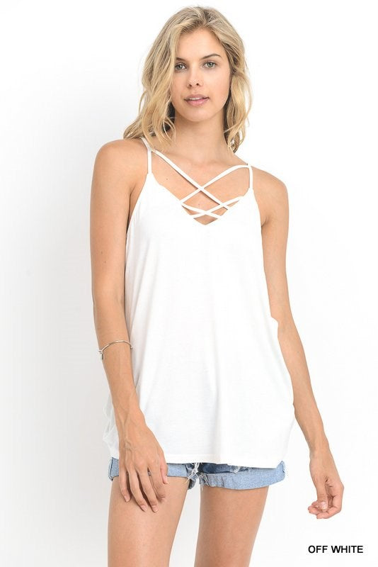 Edgy Crisscross Tank in Off White