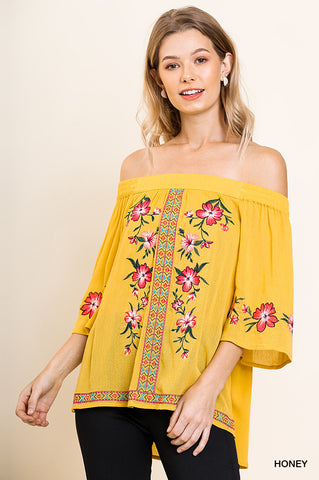 Flirty Off the Shoulder Top in Honey